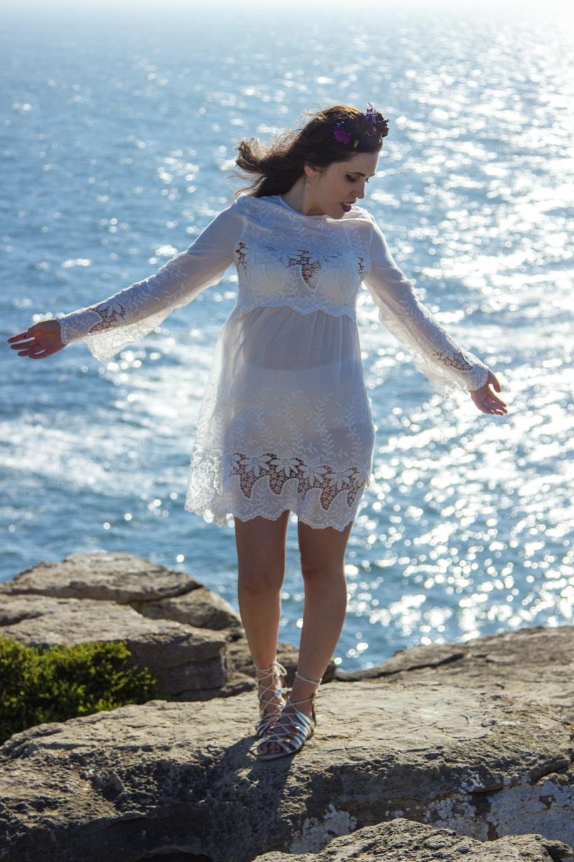 Le Fashionaire A ti, mar cabo carvoeiro mar paisagem mango vestido bordado estilo branco 1570 PT 805x1208