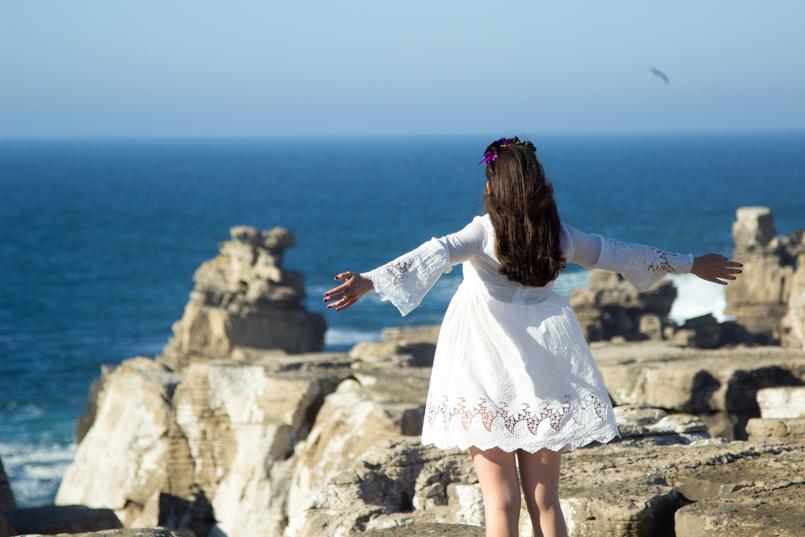 Le Fashionaire A ti, mar cabo carvoeiro mar paisagem mango vestido bordado estilo branco 1627 PT 805x537