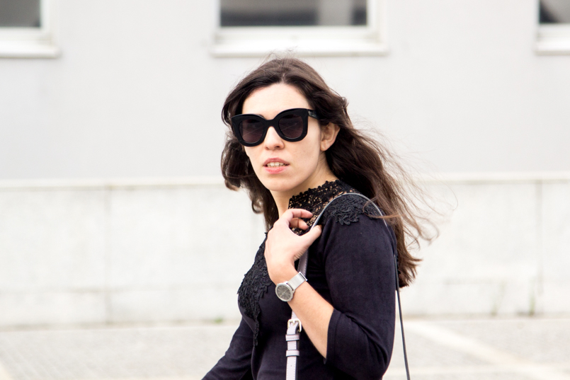 Le Fashionaire Simple as a black dress fashion blogger catarine martins Sunnies Celine Sunglasses Big Black 6573 EN 805x537