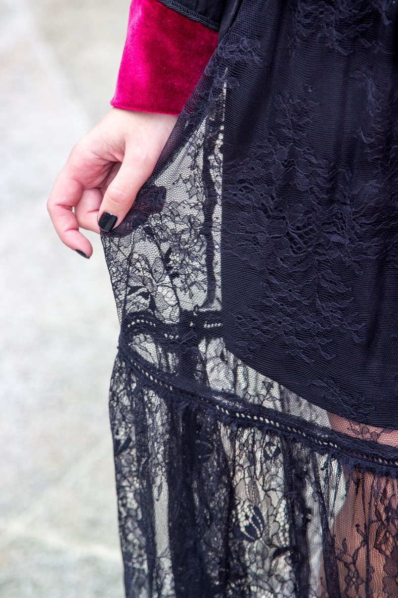 Le Fashionaire Veludo Carmim jardim botanico porto vestido renda preto stradivarius unhas pretas verniz maria de fatima colorama 7302 PT 805x1208