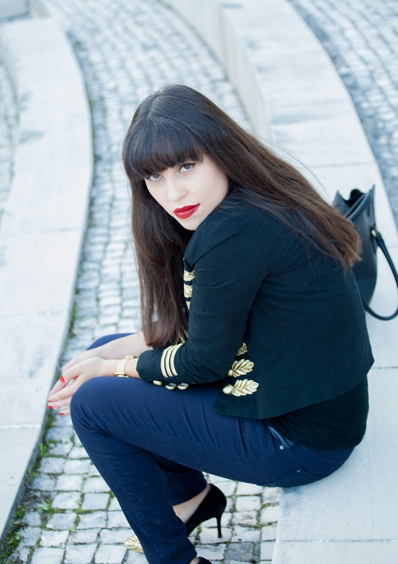 Le Fashionaire When i had bangs: The Napoleonic Military Jacket military jacket minusey michael jackson style gold dark blue embroidered zara skinny jeans dark blue nars olivia dark red lipstick 5939 EN 805x1141