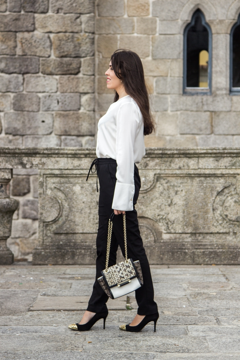 Le Fashionaire Effortless Chic oporto se cathedral black zara comfy pants white silk zara shirt zara black gold pointed heels snake leather diane von furstenberg bag 7148 EN 805x1208
