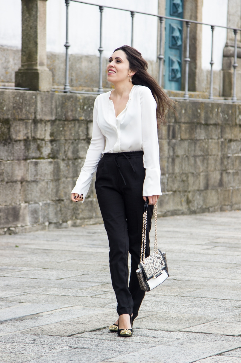 Le Fashionaire Effortless Chic oporto se cathedral black zara comfy pants white silk zara shirt zara gold pointed heels snake leather diane von furstenberg bag hoop earring hm 7030 EN 805x1208