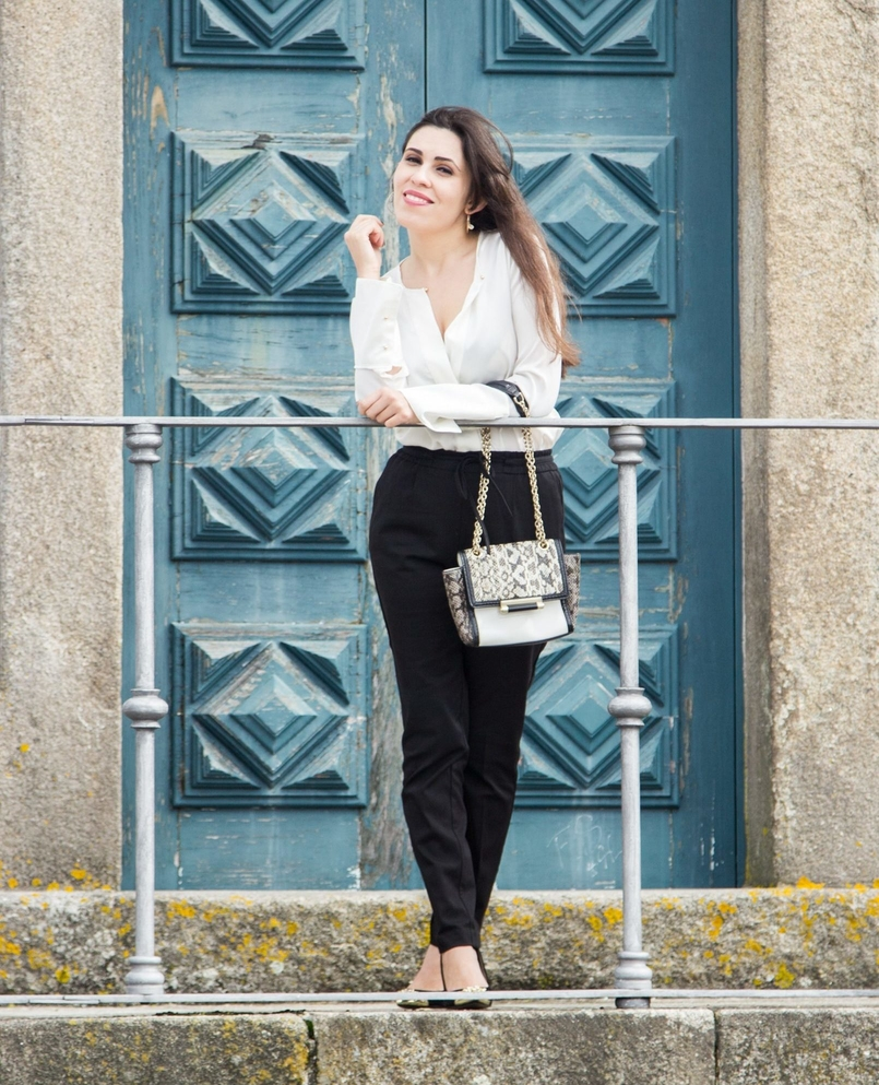Le Fashionaire Effortless Chic oporto se cathedral black zara comfy pants white silk zara shirt zara gold pointed heels snake leather diane von furstenberg bag hoop earring hm 7082 EN e1477528139401 805x993
