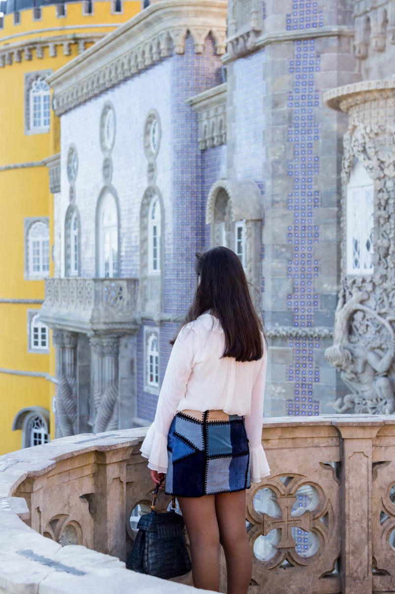 Le Fashionaire Once upon a time... portugal palace pena sintra blogger bag lanidor bamboo crocodile blue shirt skirt zara balcony img 7894 en 805x1208