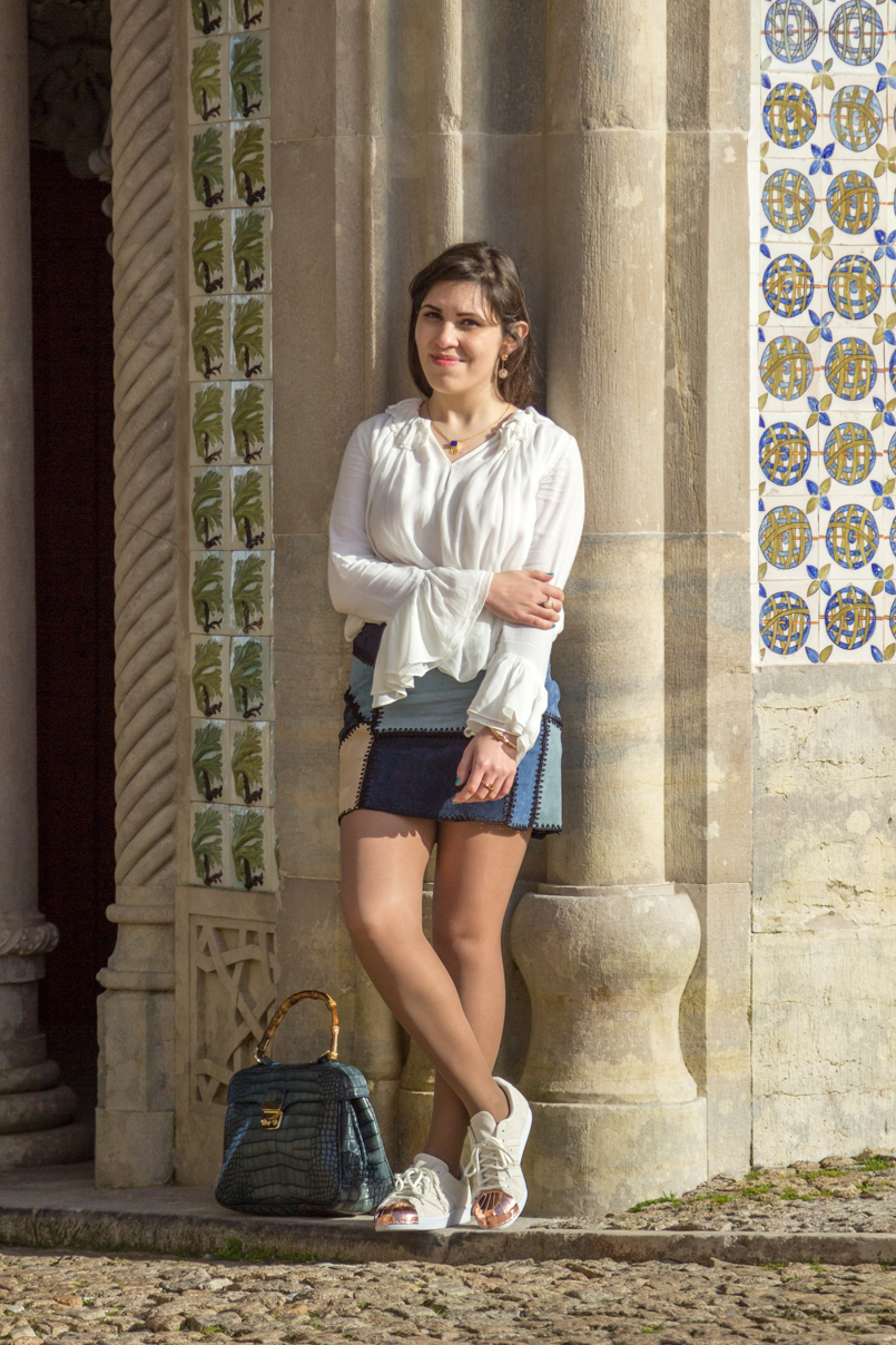 Le Fashionaire Once upon a time... portugal palace pena sintra blogger skirt zara bag lanidor bamboo crocodile shirt zara shoes sneakers adidas superstar white gold earrings arc zara necklace mango img 7983 en 805x1208