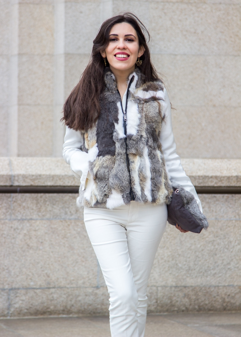 Le Fashionaire Lets talk about leather brown white leather fur vest pants white zara white silk gold buttons zara shirt leather fur grey sfera clutch twigs gold silver earrings 9619 EN 805x1123