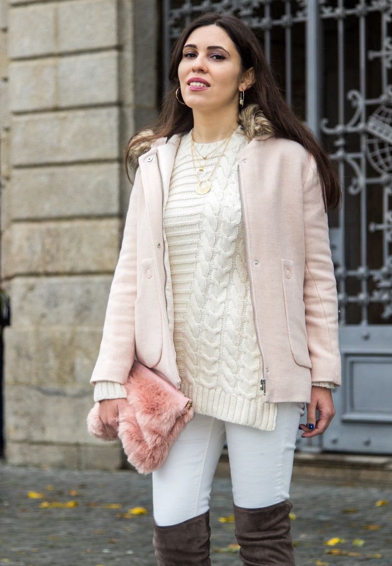 Le Fashionaire Think Pink pale pink winter fur coat zara kids wool knit sweater white mango white gold silver 925 cinco necklace white gold silver 925 cinco necklace 0193 EN 805x1162