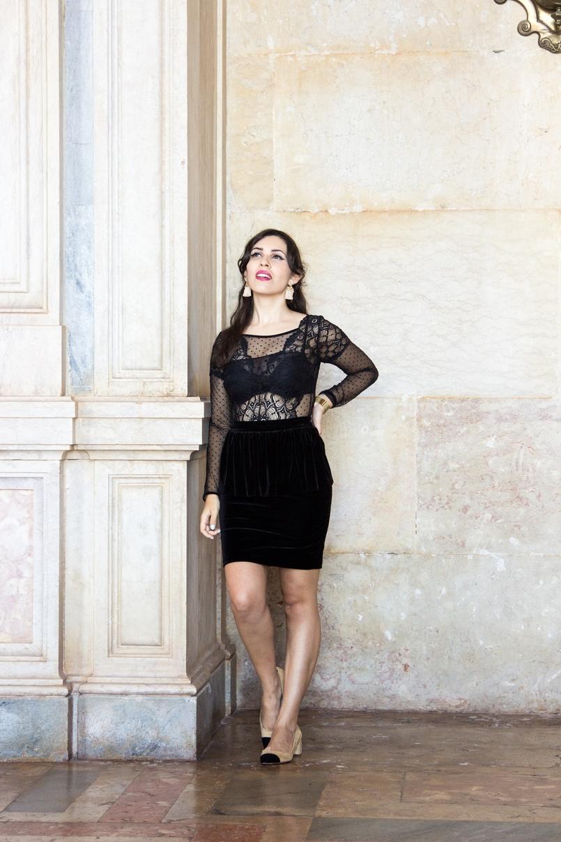 Le Fashionaire Sonhos de Veludo saia veludo preto peplum mango body renda bordado transparente preto intimissimi sapatos zara pretos brancos palacio mafra 5560 PT 805x1208