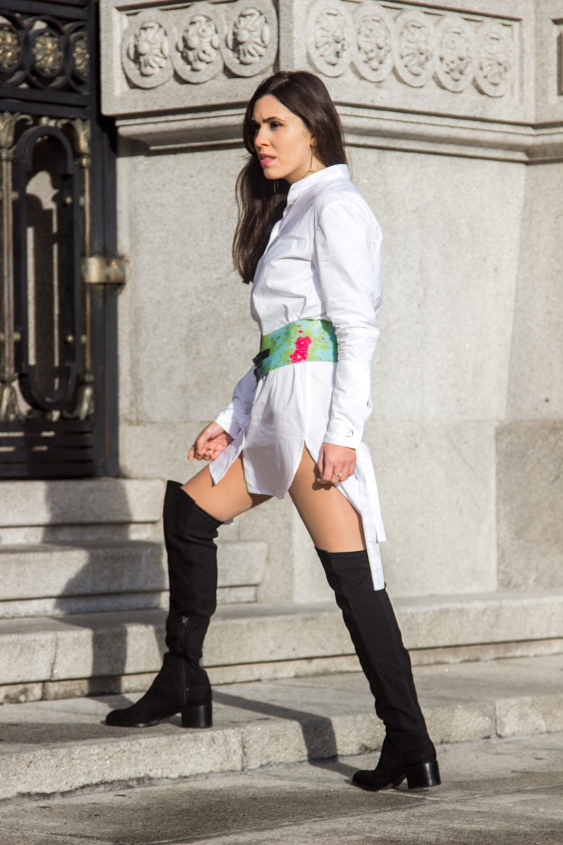 Le Fashionaire Le Fashionaire white bow shirt customized le fashionaire mango green leopard pvc roberto cavalli belt over knee black stradivarius boots 0223 EN 805x1208