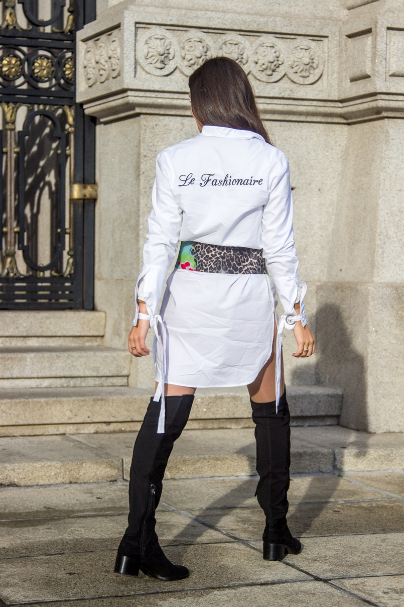 Le Fashionaire Le Fashionaire white bow shirt customized le fashionaire mango green leopard pvc roberto cavalli belt over knee black stradivarius boots 0270 EN 805x1208