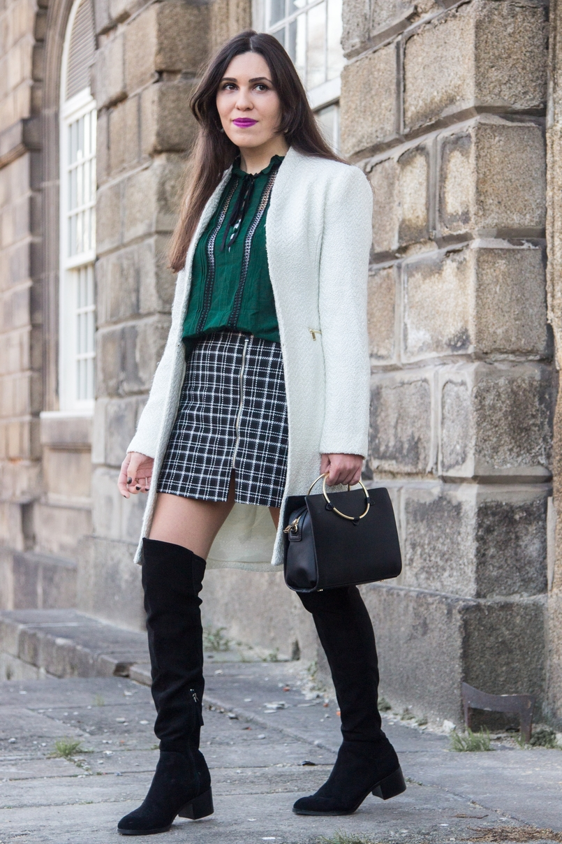 Le Fashionaire Carpe Diem black and white tartan –zara skirt dark green zara blouse over knee black stradivarius boots white winter mango coat black gold hoop zara it bag 2452 EN 805x1208
