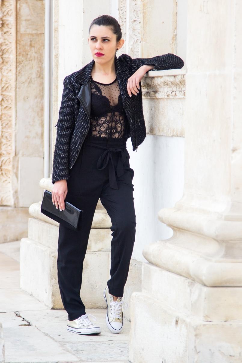 Le Fashionaire Freedom body bordado bolinhas preto intimissimi sapatilhas tenis dourados converse all star clutch preta verniz narciso rodriguez 0857 PT 1 805x1208