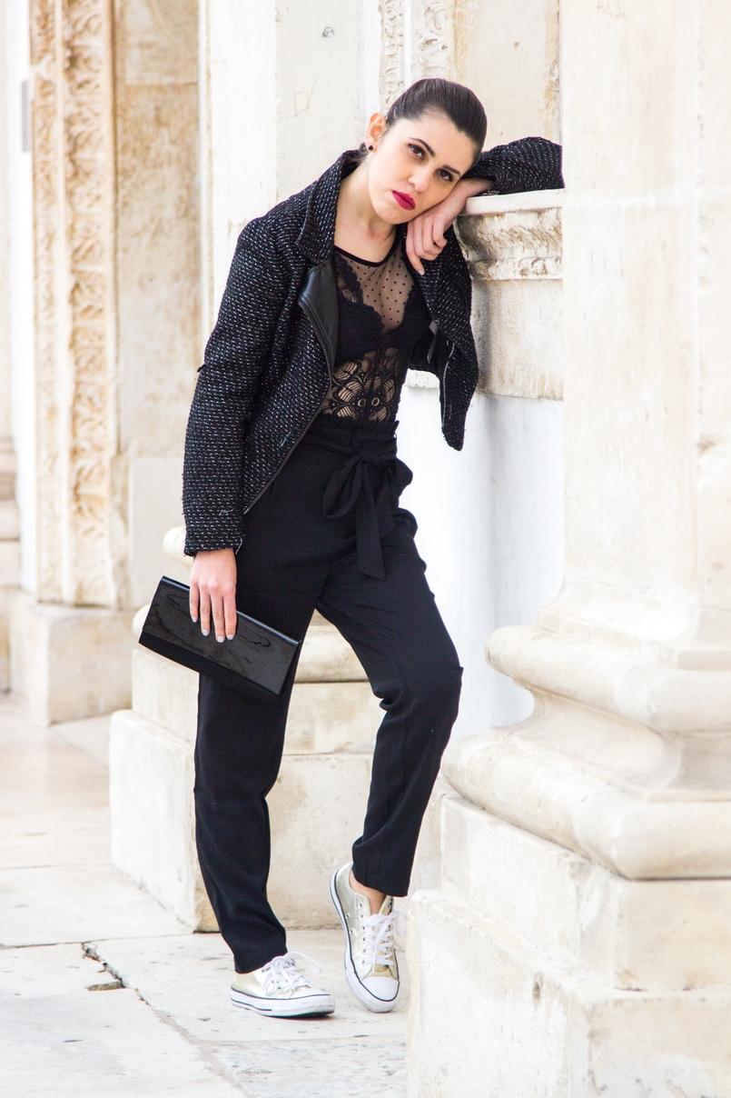 Le Fashionaire Freedom body bordado bolinhas preto intimissimi sapatilhas tenis dourados converse all star clutch preta verniz narciso rodriguez 0858 PT 805x1208