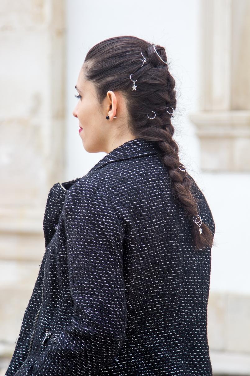 Le Fashionaire Freedom casaco tweed preto preateado zara acessorios cabelo tranca stradivarius prateados estrela piercing 0813 PT 805x1208