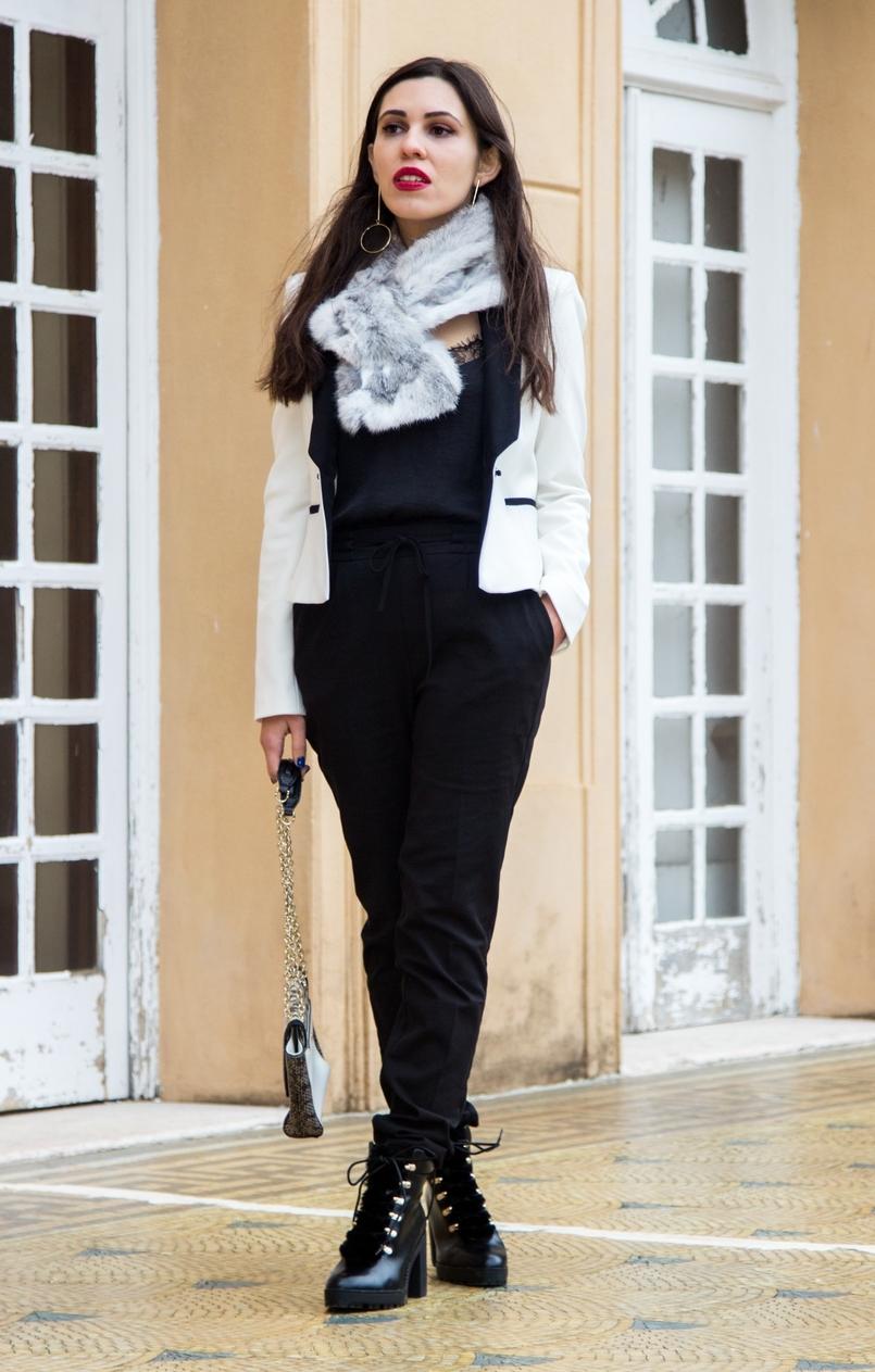 Le Fashionaire Whats luck got to do with it? sporty black zara trousers militar stradivarius black boots rabbit fur white grey stole lace black stradivarius top 9858 EN 805x1263