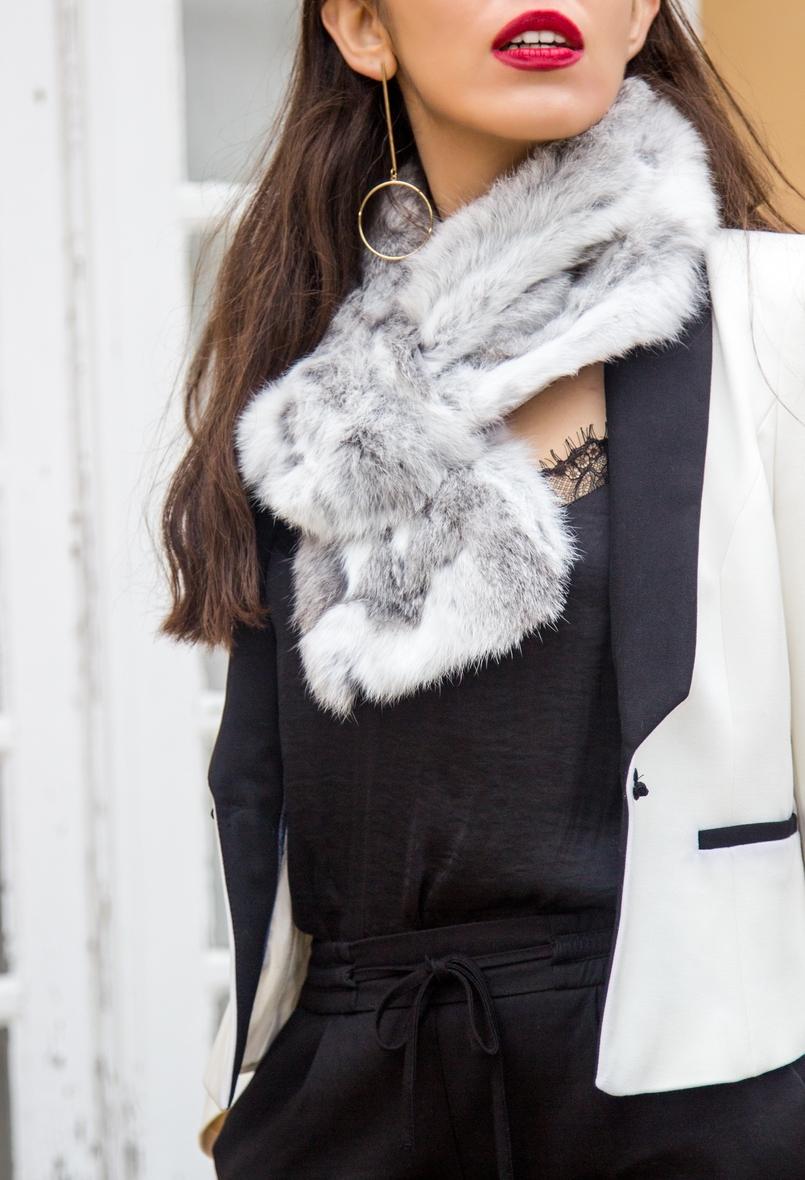 Le Fashionaire Whats luck got to do with it? white black zara blazer rabbit fur white grey stole lace black stradivarius top gold long hoop hm earrings 9842 EN 805x1180