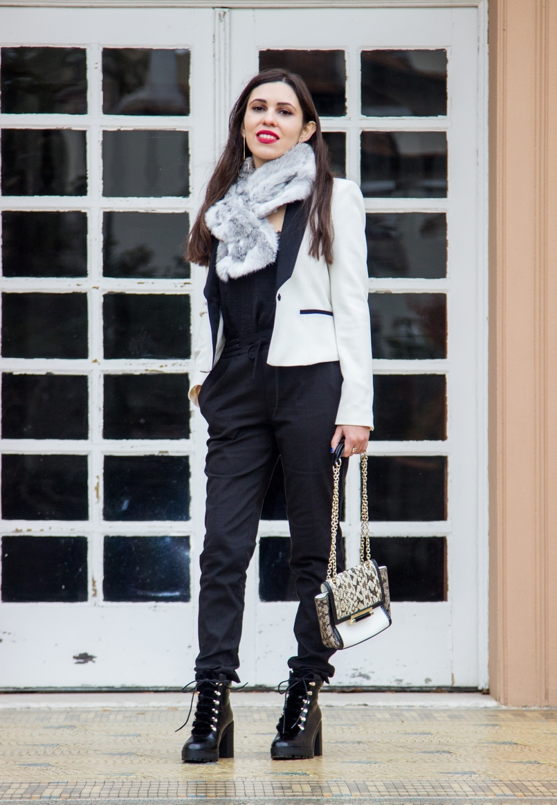 Le Fashionaire Whats luck got to do with it? white black zara blazer sporty black zara trousers militar stradivarius black boots rabbit fur white grey stole 9795 EN 805x1163