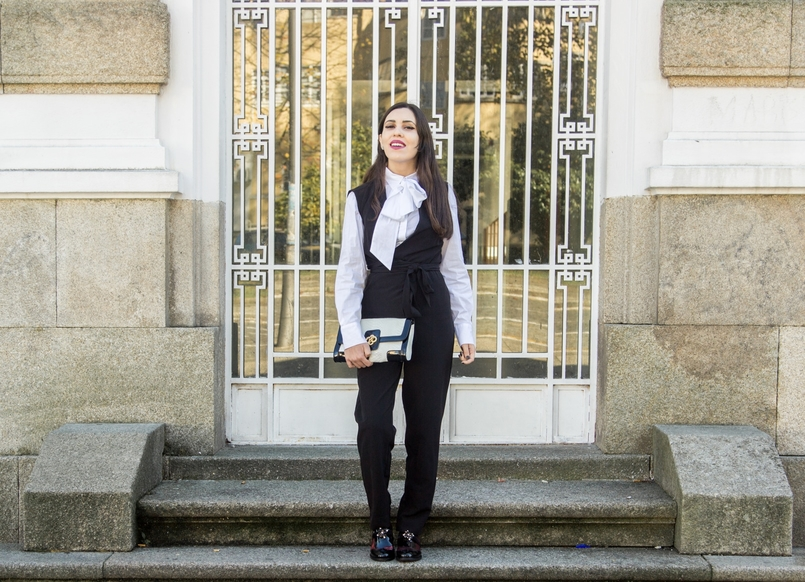 Le Fashionaire Black and White white shirt bow neck cotton globe black stradivarius jumpsuit black white clutch snakes roberto cavalli like bee crystal hm earrings 9332 EN 805x582