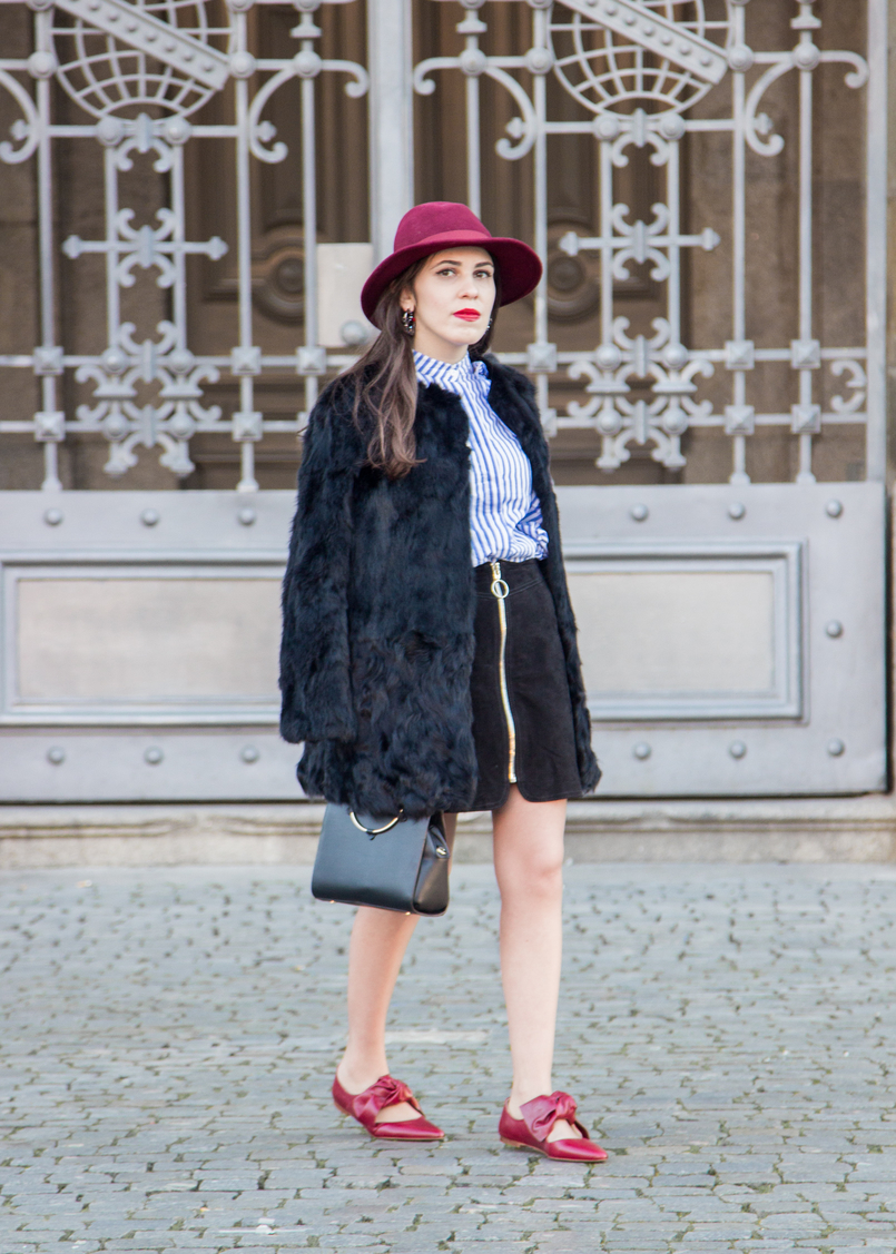 Le Fashionaire Ruffles and Leather black leather zara skirt black bag gold hoop zara burgundy sfera wool hat black fur sfera coat trendy 4411 EN 805x1127
