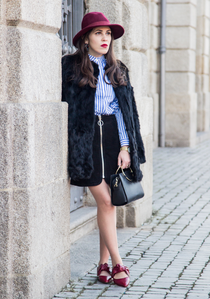 Le Fashionaire Ruffles and Leather black leather zara skirt red bow zara leather shoes black bag gold hoop zara black fur sfera coat trendy 4422 EN 805x1147