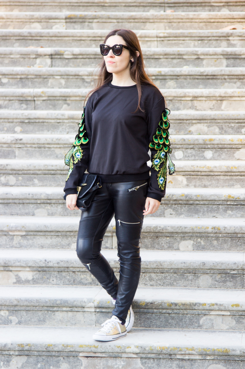 Le Fashionaire Being Bold black neoprene peacock sleeves shein jumper black biker zara trousers gold metallic all stars converse black celine sunglasses 1788 EN 805x1208