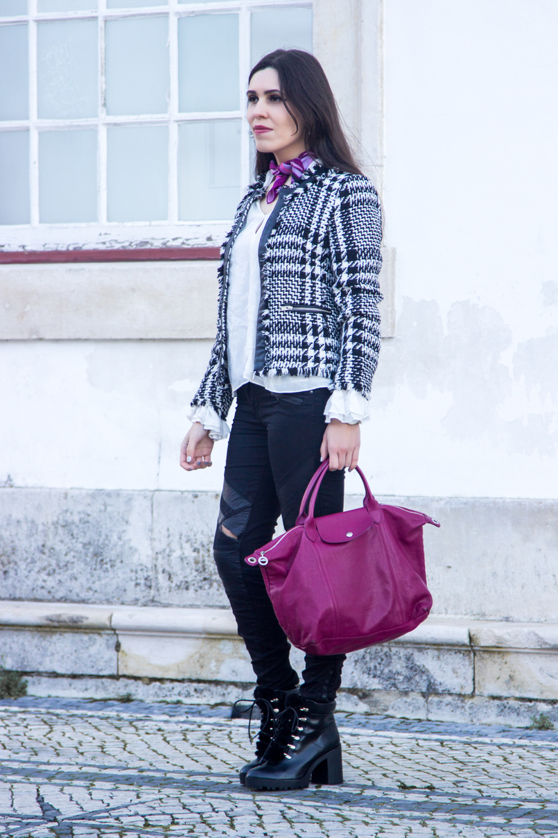 Le Fashionaire Silver Lining black white tweed mango jacket black ripped sfera jeans purple scard pink emilio pucci pliage cuir purple leather longchamp 2924 EN 805x1208