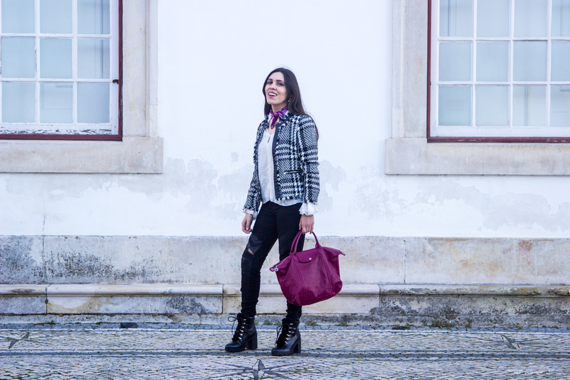 Le Fashionaire Silver Lining black white tweed mango jacket black ripped sfera jeans purple scard pink emilio pucci pliage cuir purple leather longchamp 2931 EN 805x537