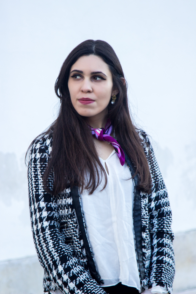 Le Fashionaire Silver Lining blogger catarine martins black white tweed mango jacket white bell sleeve ruffle zara shirt purple scard pink emilio pucci 2972 EN 805x1208