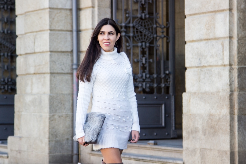 Le Fashionaire Cold January blogger catarine martins fashion inspiration white.wool pompom rose embroidered stradivarius fur grey sfera clutch 2573 EN 805x537