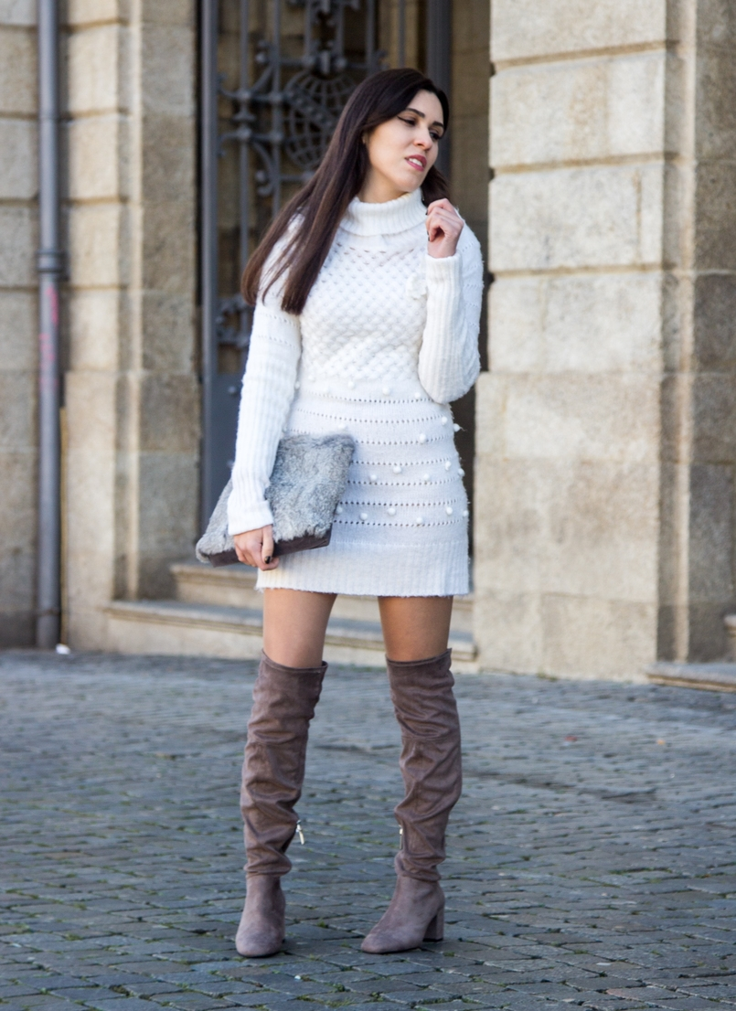 Le Fashionaire Cold January blogger catarine martins white.wool pompom rose embroidered stradivarius over knee grey boots bershka fur grey sfera clutch 2575 EN 805x1106