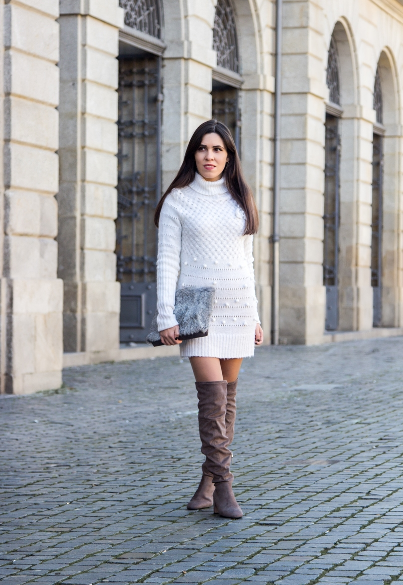 Le Fashionaire Cold January blogger catarine martins white.wool pompom rose embroidered stradivarius over knee grey boots bershka fur grey sfera clutch 2628 EN 805x1168