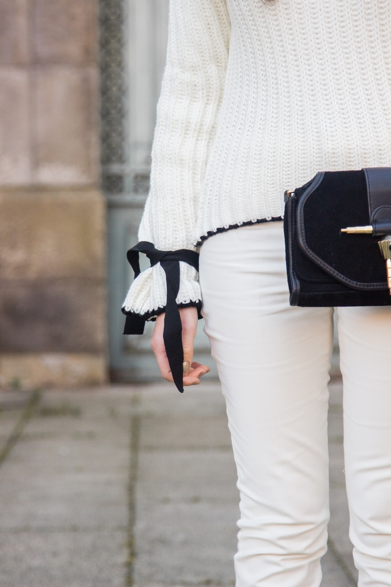 Le Fashionaire Amor Próprio blogueira catarine martins camisola preto branco la mangas balao laco shein calcas brancas corte reto zara mala preta camurca detalhe dourado zara 3475 PT 805x1208