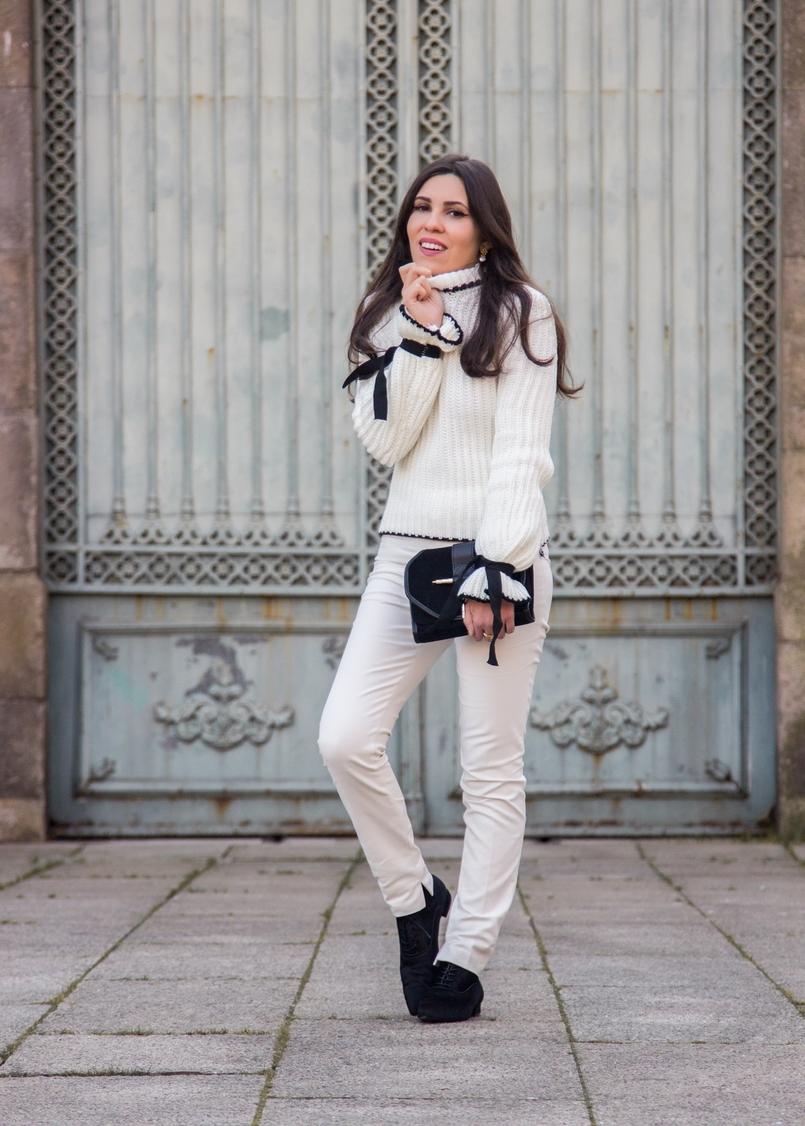 Le Fashionaire Amor Próprio blogueira catarine martins camisola preto branco la mangas balao laco shein calcas brancas corte reto zara mala preta camurca detalhe dourado zara 3495 PT 805x1126