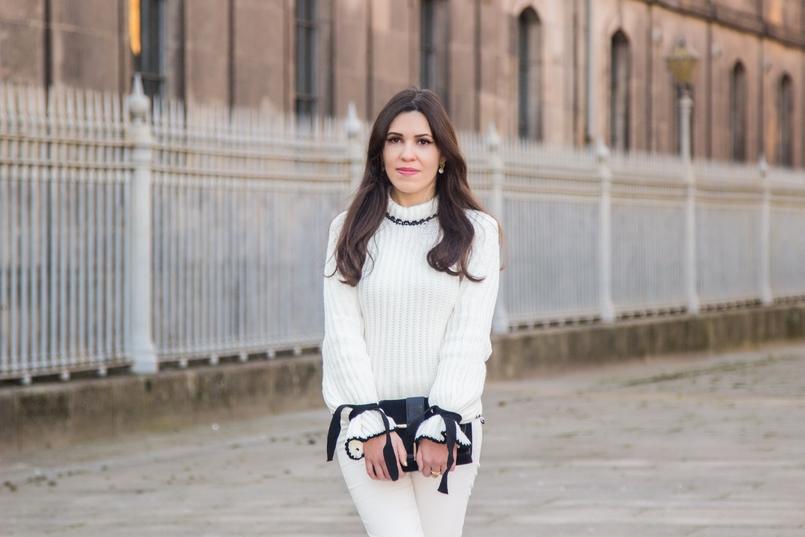 Le Fashionaire Amor Próprio blogueira catarine martins camisola preto branco la mangas balao laco shein calcas brancas corte reto zara mala preta camurca detalhe dourado zara 3507 PT 805x537