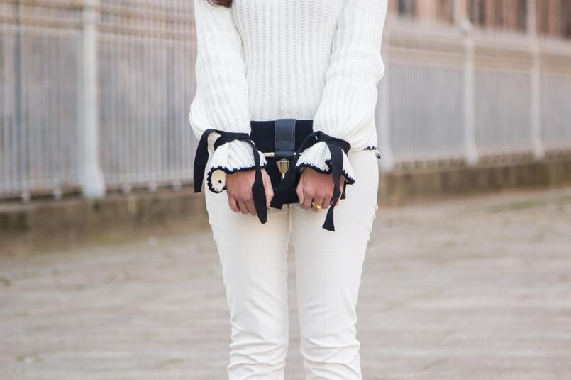 Le Fashionaire Amor Próprio blogueira catarine martins camisola preto branco la mangas balao laco shein calcas brancas corte reto zara mala preta camurca detalhe dourado zara 3509 PT 805x537