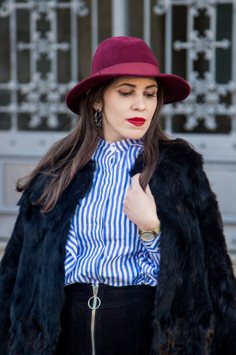 Le Fashionaire Ruffles and Leather fashion inspiration white blue stripes ruffle shein shirt hoop crystal earrings black red swarovski burgundy sfera wool hat 4394 EN 805x1208