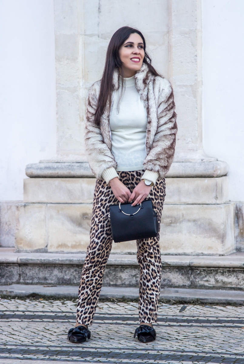 Le Fashionaire What we can learn from Meryl Streeps speech leopard black brown zara trousers faux fur white brown bomber black gold hoop zara bag bow pointy black zara shoes 3012 EN 805x1198