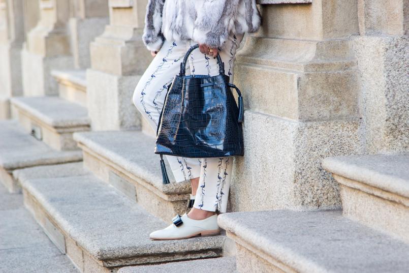 Le Fashionaire Como dizer não à procrastinação moda inspiracao casaco pelos cinzento branco sfera sapatos brancos laco azul estilo masculino monk eureka mala pele croco azul escura pele zara 4306 PT 805x537