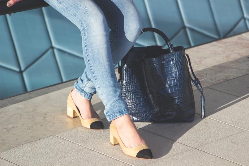 Le Fashionaire MAAT sapatos pretos brancos camurca estilo chanel zara mala pele azul escura crocodilo zara 3261 PT 805x537