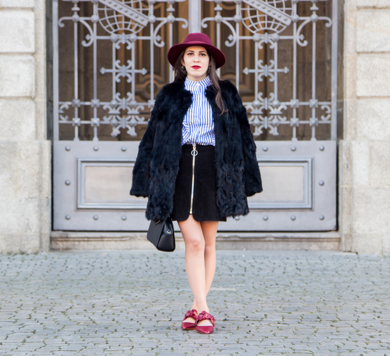 Le Fashionaire Ruffles and Leather white blue stripes ruffle shein shirt black leather zara skirt burgundy sfera wool hat black fur sfera coat trendy 4362 EN 805x735