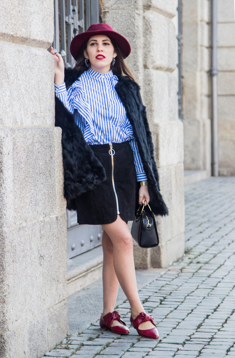 Le Fashionaire Ruffles and Leather white blue stripes ruffle shein shirt black leather zara skirt red bow zara leather shoes burgundy sfera wool hat 4413 EN 805x1225