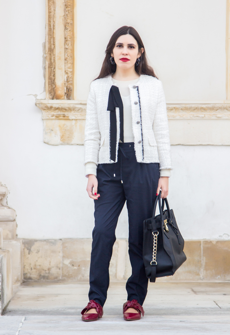 Le Fashionaire 3 reasons to wear red lipstick on Valentines red lipstick pinstripes sporty chic zara trousers pointy red leather bow zara flats shoes white tweed black bow classic zara chanel like jacket 4436 EN 805x1173