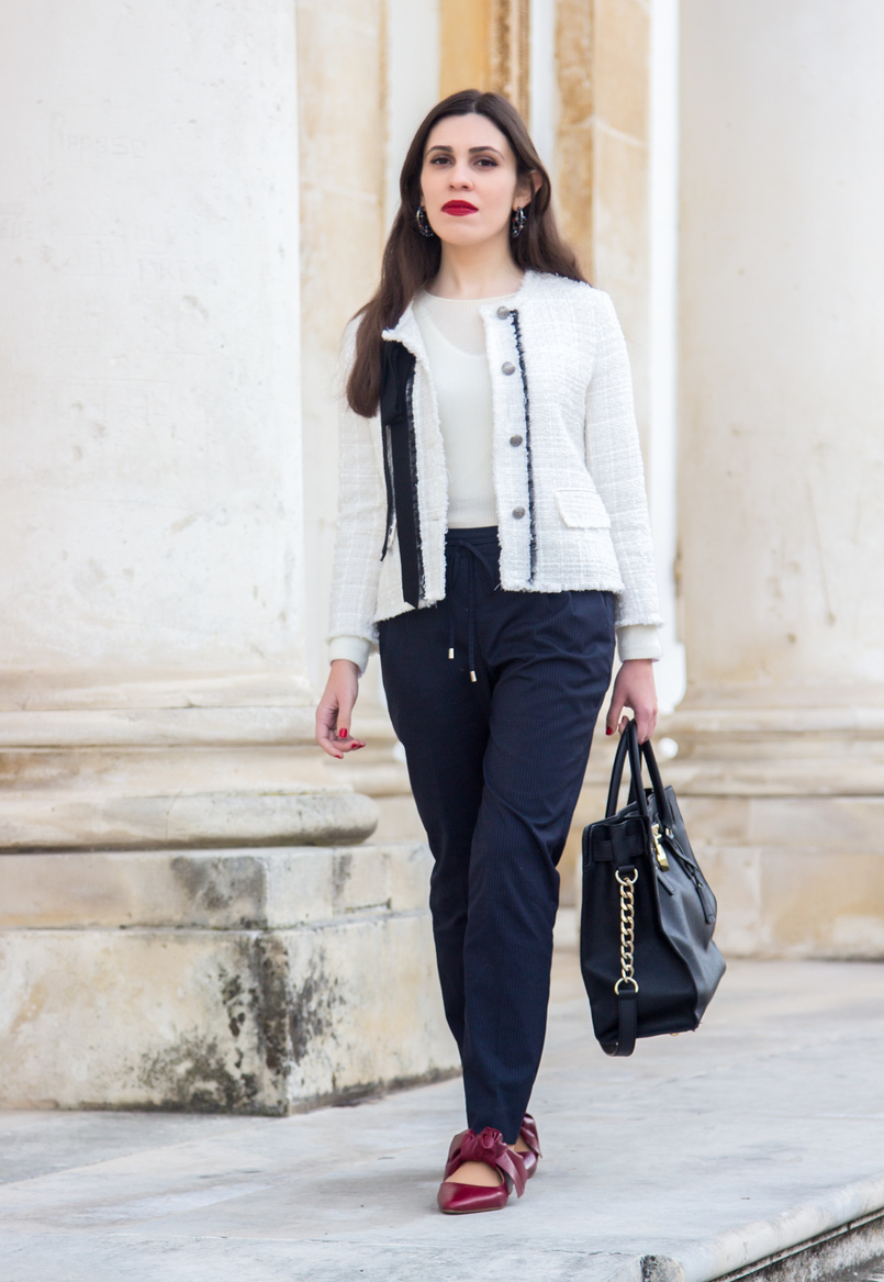 Le Fashionaire 3 reasons to wear red lipstick on Valentines red lipstick pinstripes sporty chic zara trousers pointy red leather bow zara flats shoes white tweed black bow classic zara chanel like jacket 4541 EN 805x1167