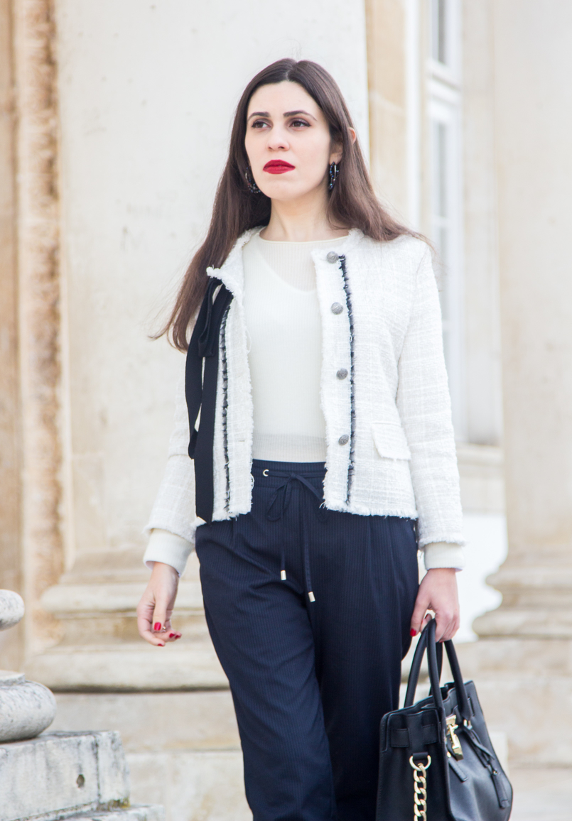 Le Fashionaire 3 reasons to wear red lipstick on Valentines red lipstick white cashmere mango knit sweater pinstripes sporty chic zara trousers white tweed black bow classic zara chanel like jacket 4487 EN 805x1156
