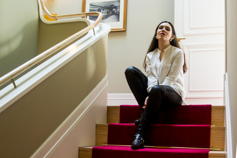 Le Fashionaire Porto A.S. 1829 Hotel stairs white oversized zara shirt black leather mango trousers ankle buckle black zara boots hotel as 1829 oporto 5295 EN 805x538