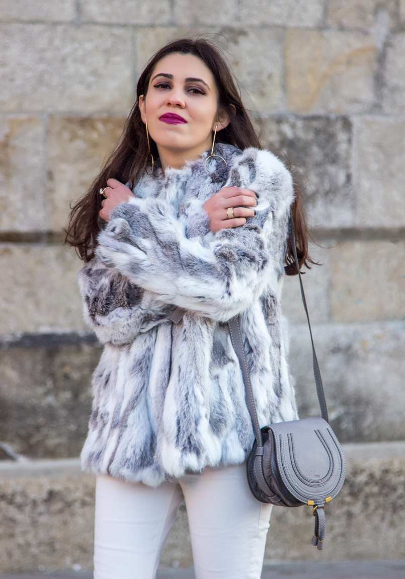 Le Fashionaire Hope blogger catarine martins fashion inspiration fur gray white sfera beautiful coat mini marcie chloe gray bag white mango skinny jeans 4259 EN 805x1150