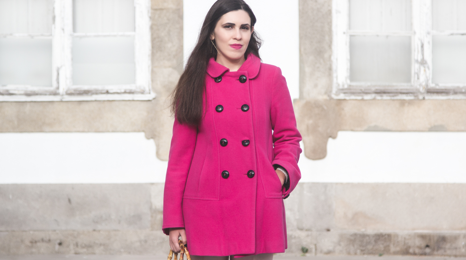 Le Fashionaire 50 shades of pink blogger catarine martins fashion inspiration wool pink coat outerwear front buttons zara 7290F EN
