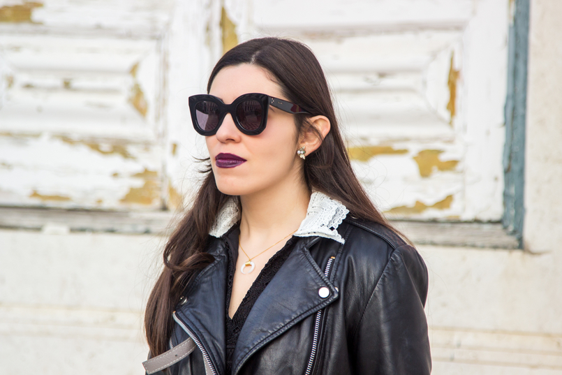 Le Fashionaire Should we all be feminists? blogger catarine martins half moon white gold silver cinco necklace black big bold celine sunglasses mango leather biker black jacket 6719 EN 805x537