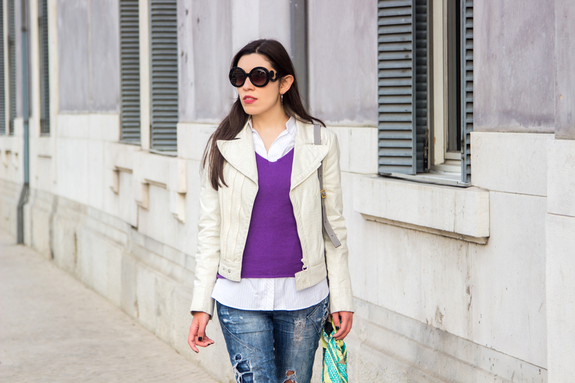 Le Fashionaire Faz acontecer! casaco branco polipele cobra zara camisola roxa caxemira massimo dutti camisa riscas brancas azuis larga zara 6657 PT 805x537